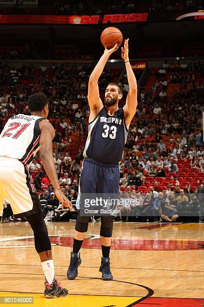 Marc Gasol of the Memphis Grizzlies shoots against the Miami Heat during the game on December 13 2015 at American Airlines Arena in Miami Florida...