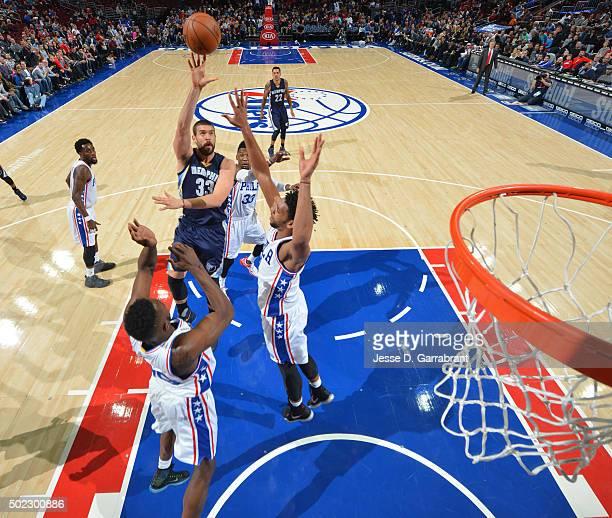 Marc Gasol of the Memphis Grizzlies shoots the ball against the Memphis Philadelphia 76ers at Wells Fargo Center on December 22 2015 in Philadelphia...