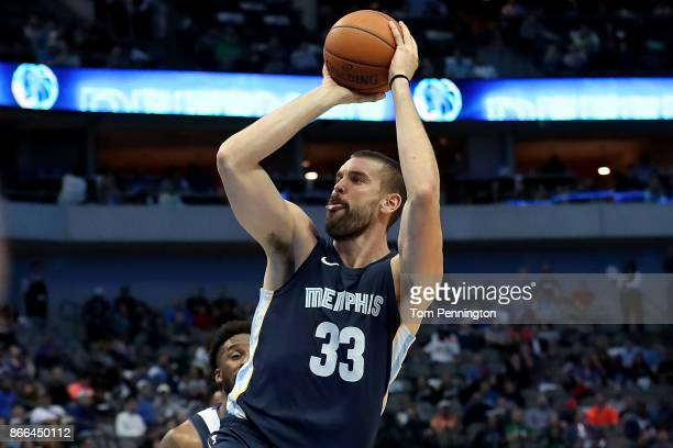 Marc Gasol of the Memphis Grizzlies shoots the ball against the Dallas Mavericks in the second half at American Airlines Center on October 25 2017 in...