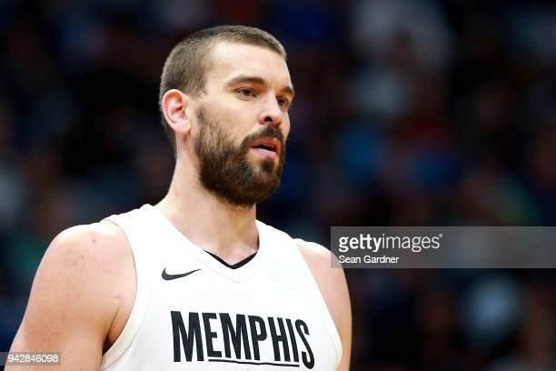Marc Gasol of the Memphis Grizzlies stands on the court during the second half of a NBA game against the New Orleans Pelicans at the Smoothie King...