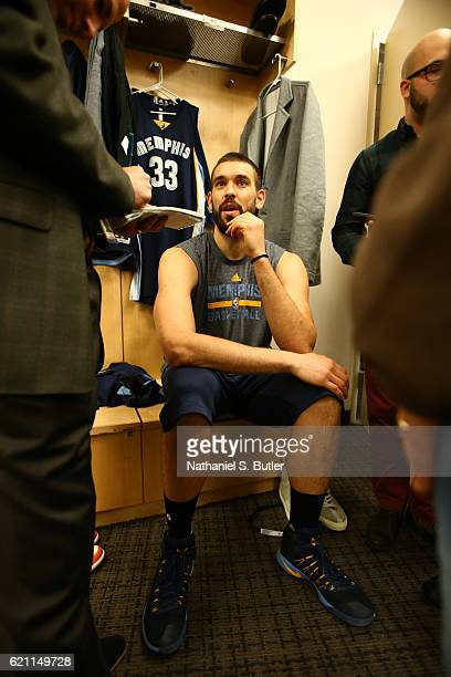 Marc Gasol of the Memphis Grizzlies talks to the media before the game against the New York Knicks on October 29 2016 at Madison Square Garden in New...