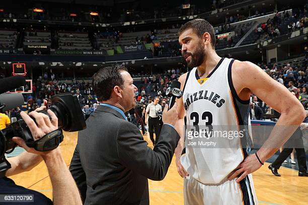 Marc Gasol of the Memphis Grizzlies talks with Fox Sports reporter Rob Fischer after the game against the Toronto Raptors on January 25 2017 at...