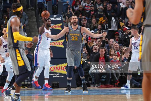 Marc Gasol of the Memphis Grizzlies yells and celebrates during the game against the Philadelphia 76ers on November 10 2018 at FedExForum in Memphis...