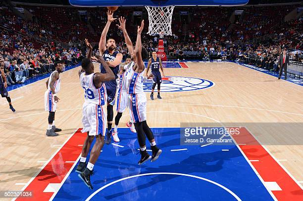 Marc Gasol of the Philadelphia 76ers shoots the ball against the Memphis Grizzlies at Wells Fargo Center on December 22 2015 in Philadelphia...