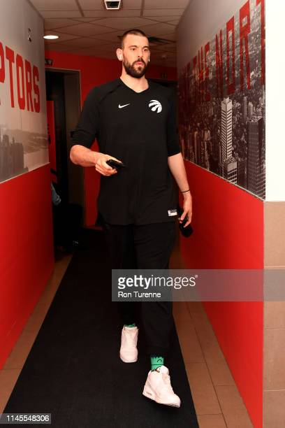 Marc Gasol of the Toronto Raptors arrives at the arena before the game against the Milwaukee Bucks in Game Four of the Eastern Conference Finals on...