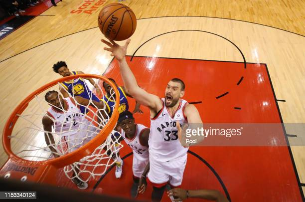 Marc Gasol of the Toronto Raptors attempts a shot against the Golden State Warriors during Game Two of the 2019 NBA Finals at Scotiabank Arena on...