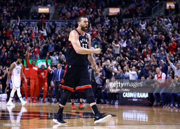 Marc Gasol of the Toronto Raptors celebrates a basket during the second half of an NBA game against the Brooklyn Nets at Scotiabank Arena on February...