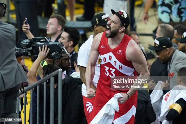 Marc Gasol of the Toronto Raptors celebrates his teams victory over the Golden State Warriors in Game Six to win the 2019 NBA Finals at ORACLE Arena...