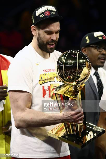 Marc Gasol of the Toronto Raptors celebrates with the Larry O'Brien Championship Trophy after his team defeated the Golden State Warriors to win Game...