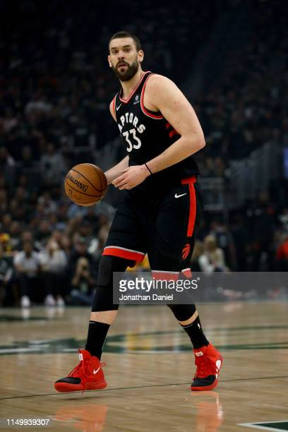 Marc Gasol of the Toronto Raptors dribbles the ball in the first quarter against the Milwaukee Bucks during Game Two of the Eastern Conference Finals...