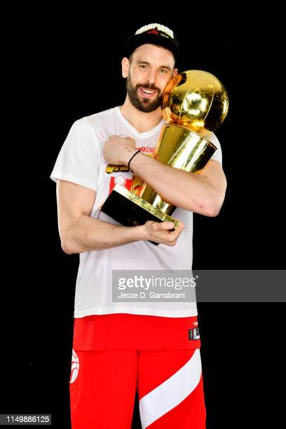 Marc Gasol of the Toronto Raptors poses for a portrait with the Larry O'Brien Trophy after winning Game Six of the 2019 NBA Finals against the Golden...