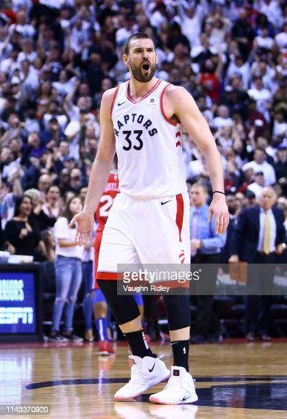 Marc Gasol of the Toronto Raptors reacts during Game Seven of the second round of the 2019 NBA Playoffs against the Philadelphia 76ers at Scotiabank...