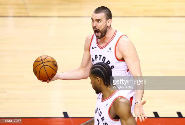 Marc Gasol of the Toronto Raptors reacts to a foul call against the Golden State Warriors in the first half during Game Two of the 2019 NBA Finals at...