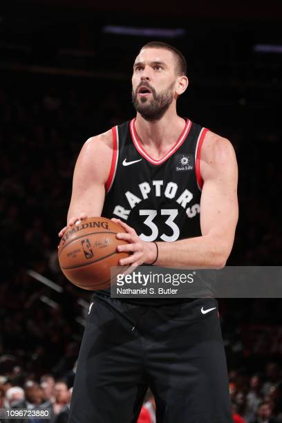 Marc Gasol of the Toronto Raptors shoots a foul shot during the game against the New York Knicks on February 9 2019 at Madison Square Garden in New...