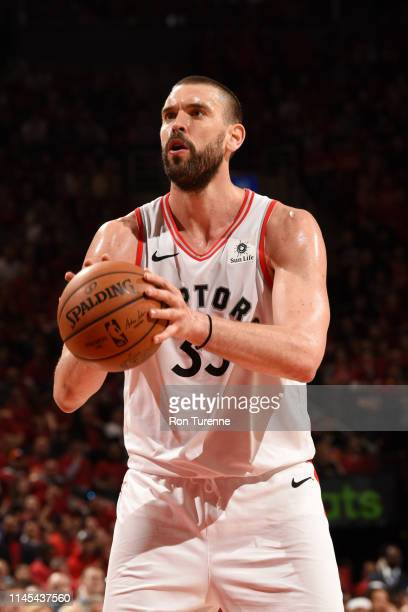 Marc Gasol of the Toronto Raptors shoots a freethrow against the Milwaukee Bucks during Game Four of the Eastern Conference Finals on May 21 2019 at...