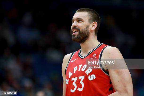 Marc Gasol of the Toronto Raptors stands on the court during the first half of a game against the New Orleans Pelicans at the Smoothie King Center on...