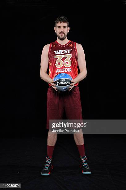 Marc Gasol of the Western Conference All-Stars poses for a portrait prior to the 2012 NBA All-Star Game presented by Kia Motors as part of 2012...