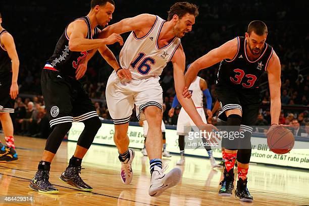 Marc Gasol of the Western Conference in action against Pau Gasol of the Eastern Conference during the 2015 NBA AllStar Game at Madison Square Garden...