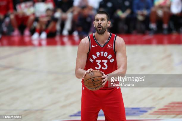 Marc Gasol of Toronto Raptors shoots a free throw during the preseason game between Toronto Raptors and Houston Rockets at Saitama Super Arena on...