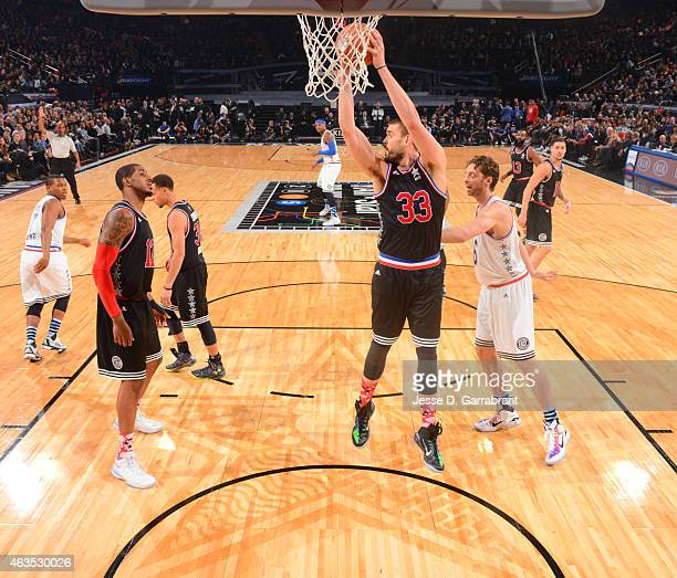 Marc Gasol playing for the West Coast allstars comes away with the rebound during the 2015 NBA AllStar Game at Madison Square Garden on February 15...