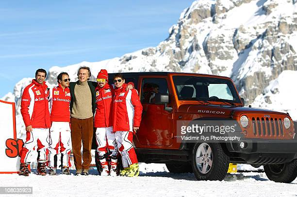 Marc Gene, Felipe Massa, Ferrari President Luca di Montezemolo, Fernando Alonso and Giancarlo Fisichella pose during the 2011 Wroom F1 and Moto GP...