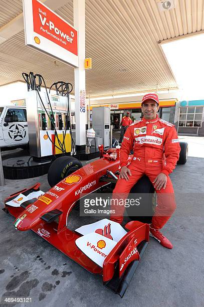 Marc Gene is seen at a petrol station during the Shell Africa F1 Street Demo around Soccer City Stadium on February 15 2014 in Johannesburg South...