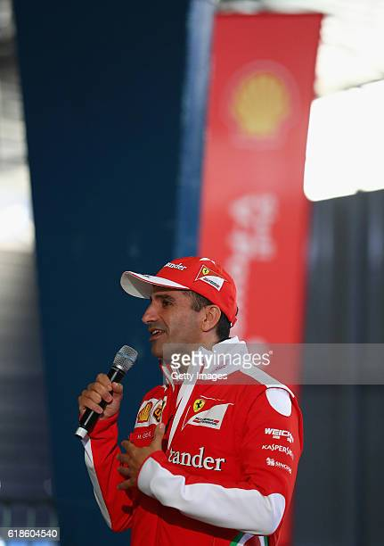 Marc Gene of Spain and Ferrari talks on stage at the Shell Eco Marathon event during the Formula One Grand Prix of Mexico at Autodromo Hermanos...