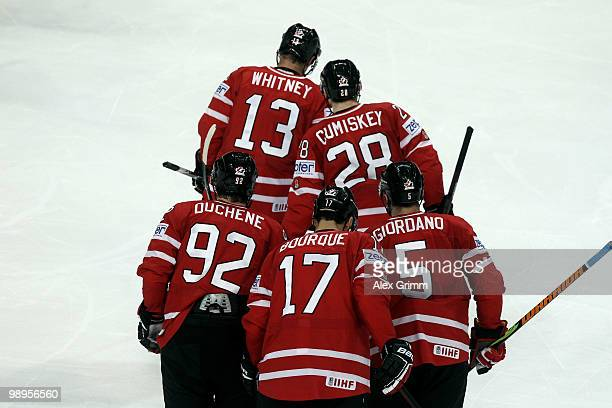 Marc Giordano Rene Bourque Matt Duchene Kyle Cumiskey and Ray Whitney of Canada leave the ice after Marc Giordano scored his team's second goal...