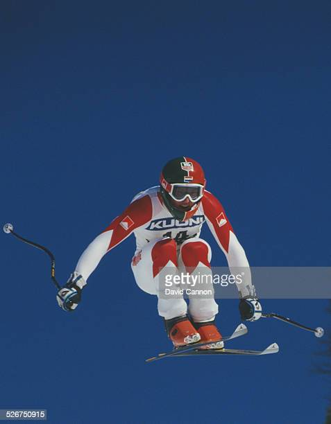 Marc Girardelli of Luxembourg during the International Ski Federation Men's downhill at the Alpine Skiing World Cup event on 17 January 1987 in...
