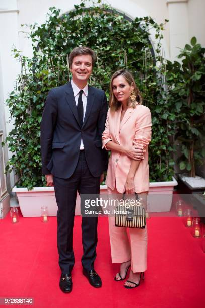 Marc Giro and Andrea Pascual attend 'Roger Vivier Loves Madrid' party at Palacio Fernan Nunez on June 12 2018 in Madrid Spain