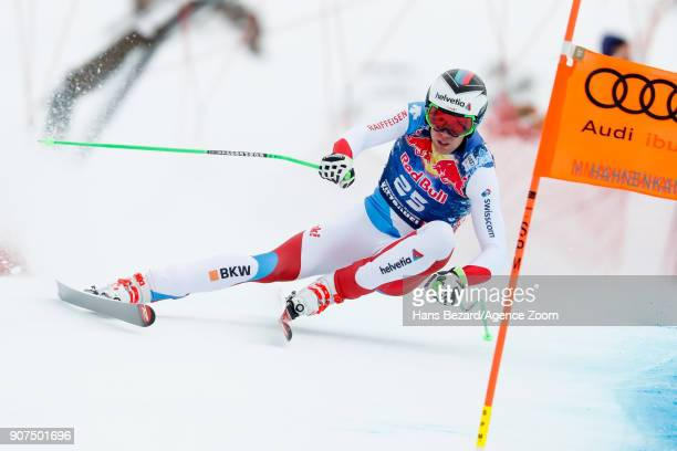 Marc Gisin of Switzerland competes during the Audi FIS Alpine Ski World Cup Men's Downhill on January 20 2018 in Kitzbuehel Austria