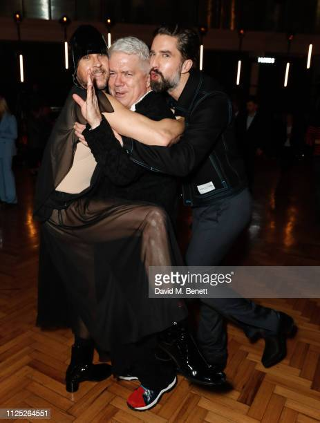 Marc Goering Tim Blanks and Jack Guinness attend the International Woolmark Prize 18/19 Final show during London Fashion Week February 2019 at...