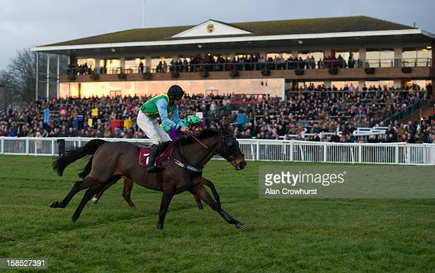 Marc Goldstein riding Quartz Du Montceau win The 'Save The Last Race' For Eastwell Manor Handicap Steeple Chase the last race of the day during the...
