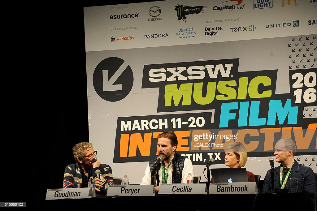 Marc Goodman, Lawrence Peryer, Carolynn Cecilia and Jonathan Barnbrook speak onstage at 'David Bowie Visual Collaborators' during the 2016 SXSW Music, Film + Interactive Festival at Austin Convention Center on March 19, 2016 in Austin, Texas.