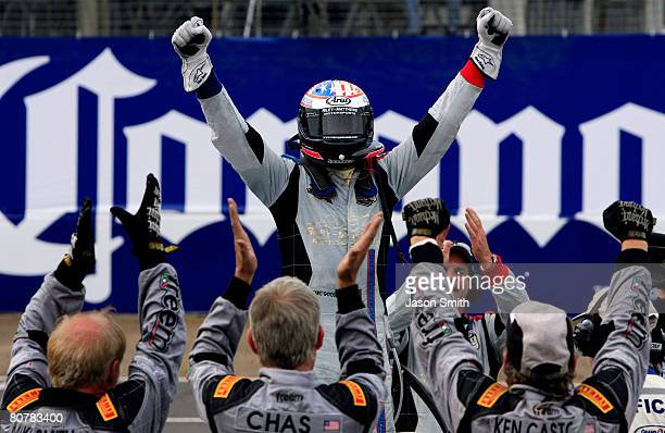 Marc Goossens codriver of the Bob Stallings/RileyMatthews Pontiac Riley celebrates after winning the Rolex Series Mexico City 250 at Autodromo...