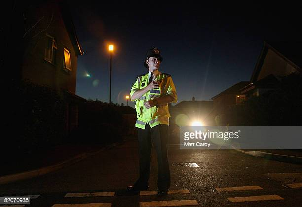 Marc Griffin patrols the streets on the Close Hill estate that has introduced a voluntary night curfew for all under 16yearolds on July 25 2008 in...