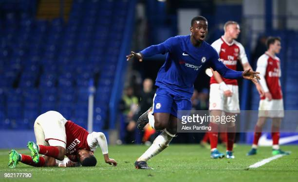 Marc Guehi of Chelsea celebrates after he scores his sides second goal during the FA Youth Cup Final first leg match between Chelsea and Arsenal at...
