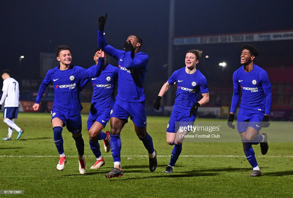Marc Guehi of Chelsea celebrates Chelsea second goal during the FA youth cup match between Tottenham Hotspur and Chelsea at The Lamex Stadium on February 13, 2018 in Stevenage, England.