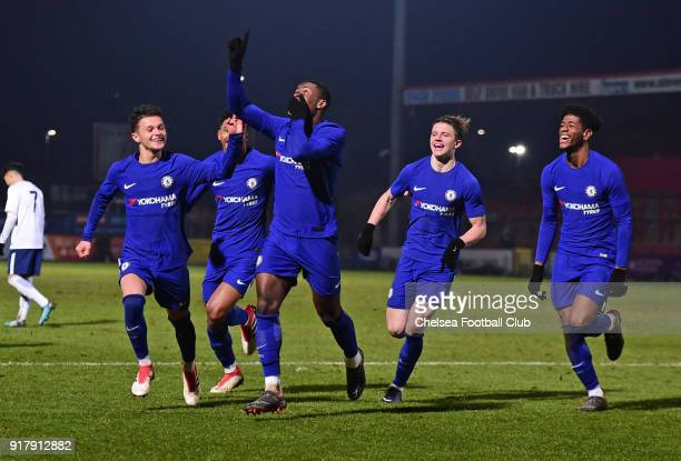 Marc Guehi of Chelsea celebrates Chelsea second goal during the FA youth cup match between Tottenham Hotspur and Chelsea at The Lamex Stadium on...