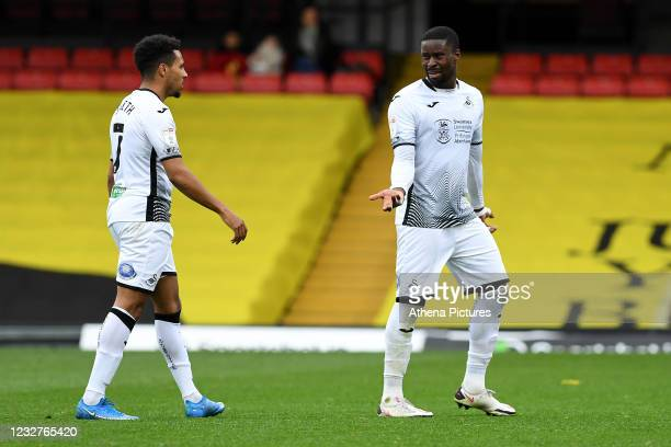 Marc Guehi of Swansea City during the Sky Bet Championship match between Watford and Swansea City at Vicarage Road on May 08, 2021 in Watford,...