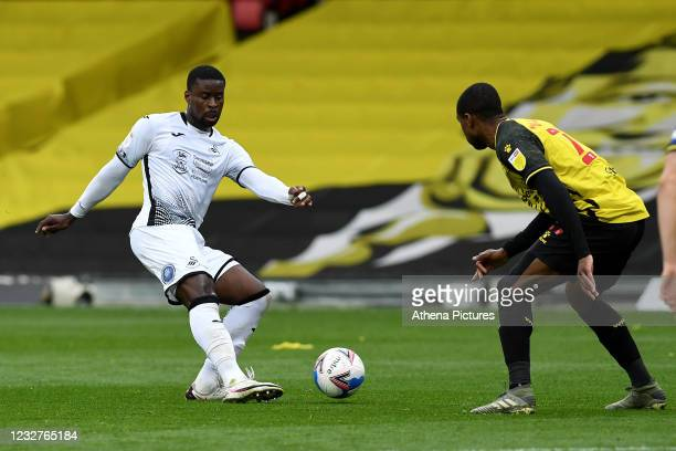 Marc Guehi of Swansea City in action during the Sky Bet Championship match between Watford and Swansea City at Vicarage Road on May 08, 2021 in...