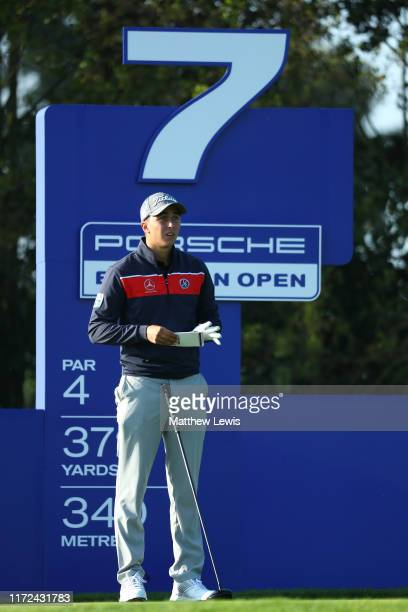 Marc Hammer of Germany on the seventh tee during Day one of the Porsche European Open at Green Eagle Golf Courses Porsche Nord Course on September 05...