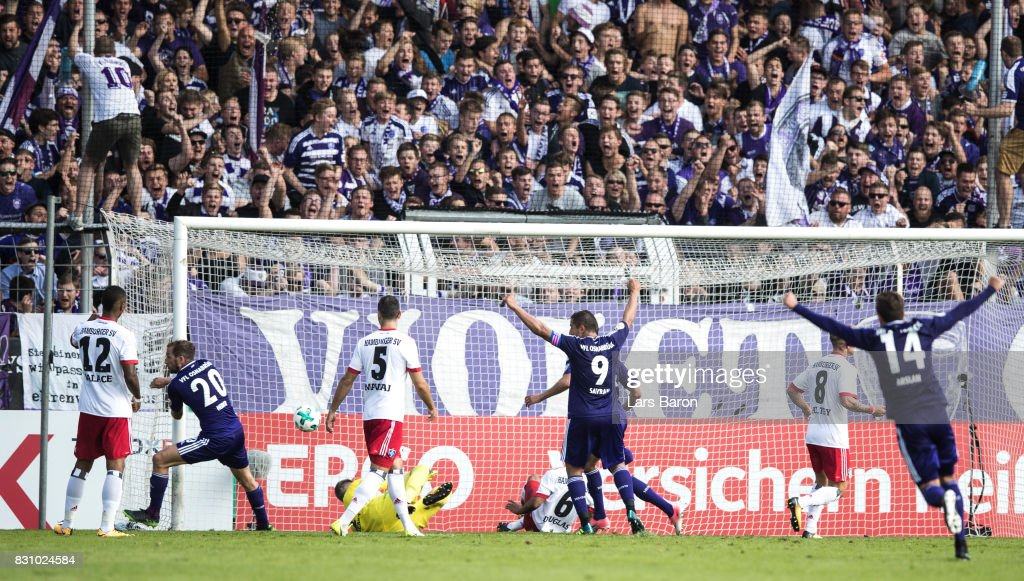 Marc Heider of Osnabrueck scores his teams second goal during the DFB Cup match between VfL Osnabrueck and Hamburger SV at Osnatel Arena on August 13, 2017 in Osnabrueck, Germany.