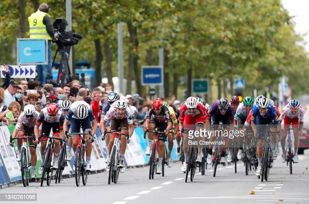 Marc Hirschi of Switzerland and UAE Team Emirates, Bauke Mollema of Netherlands and Team Trek - Segafredo, Clément Champoussin of France and AG2R...