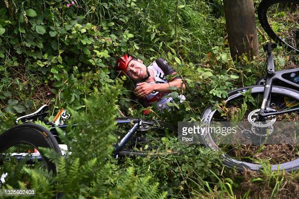 Marc Hirschi of Switzerland and UAE-Team Emirates injury after crash during the 108th Tour de France 2021, Stage 1 a 197,8km stage from Brest to...