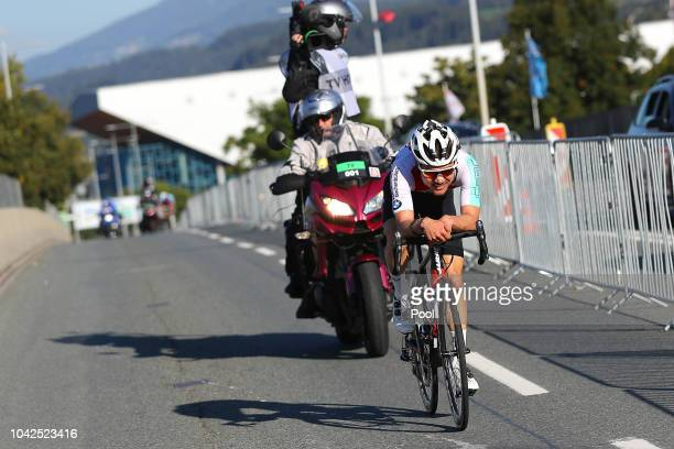 Marc Hirschi of Switzerland / during the Men Under 23 Road Race a 179,9km race from Kufstein to Innsbruck 582m at the 91st UCI Road World...