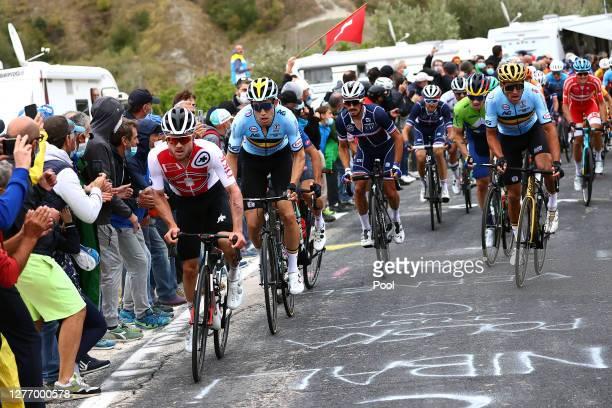 Marc Hirschi of Switzerland / Wout Van Aert of Belgium / Julian Alaphilippe of France / Primoz Roglic of Slovenia / Greg Van Avermaet of Belgium /...