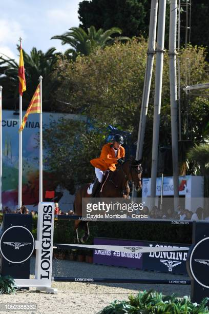 Marc Houtzager of Netherlands riding Sterrehof's Calimero during Longines FEI Jumping Nations Cup Final Competition on October 7 2018 in Barcelona...