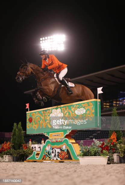 Marc Houtzager of Team Netherlands riding Dante competes during the Jumping Individual Qualifier on day eleven of the Tokyo 2020 Olympic Games at...