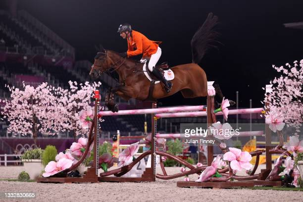 Marc Houtzager of Team Netherlands riding Dante competes in the Jumping Team Final at Equestrian Park on August 07, 2021 in Tokyo, Japan.